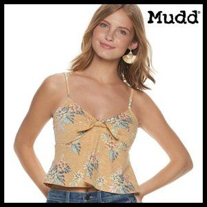 Mudd Tops - 🔴 5/$15 Mudd Bow-Front Yellow Floral Tank Top NWT